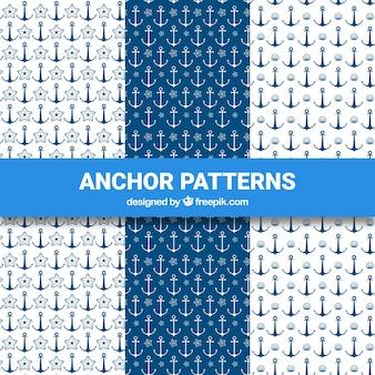 Colección azul y blanca de patrones de anclas