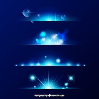 Colección azul de divisores de bengalas de lente