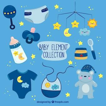 Colección azul de elementos de bebé con detalles amarillos