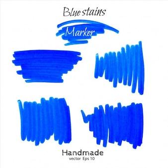 Colección azul del garabato de marcador