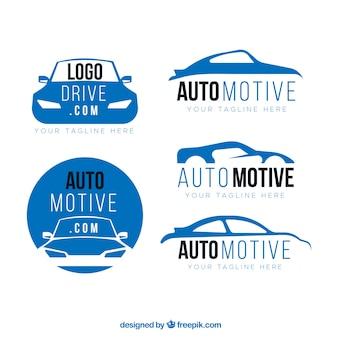 Colección azul y blanca de logotipos de coche