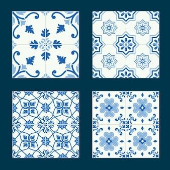 Colección de azulejos azules