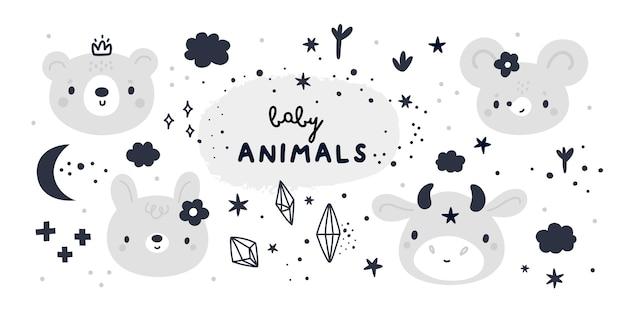 Colección de baby shower con lindos animales bebé en estilo de dibujos animados
