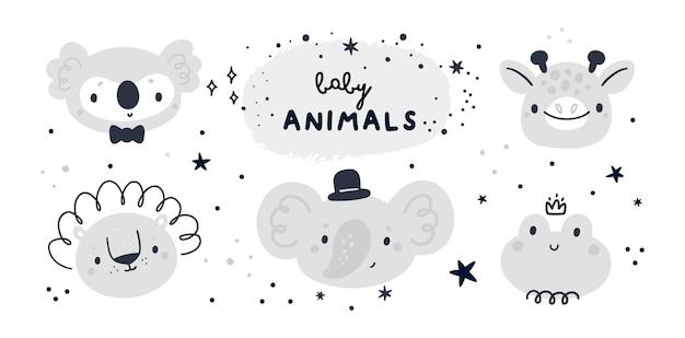 Colección de baby shower con lindos animales bebé