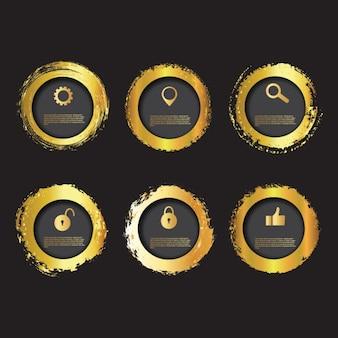 Colección de badges dorados