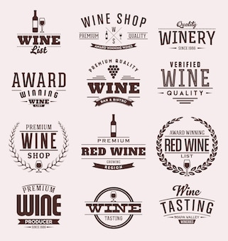 Colección de badges de vino