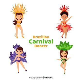 Colección bailarinas carnaval brasileño dibujadas a mano