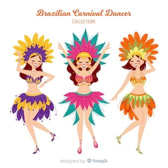Colección bailarines carnaval brasileño