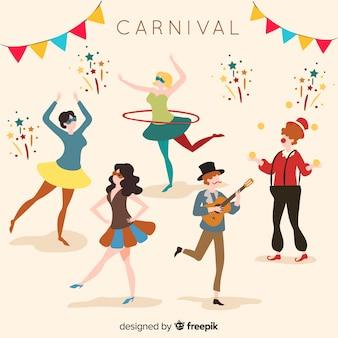 Colección de bailarines de carnaval dibujado a mano