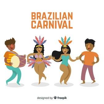 Colección de bailarines de carnavales dibujada a mano