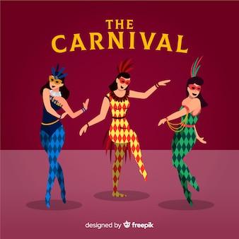 Colección de bailarines de carnavales en diseño plano