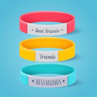 Colección de bandas de amistad realistas.
