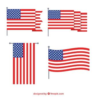 Colección de bandera americana con diseño plano ondeando