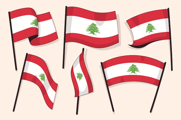 Colección bandera libanesa plana