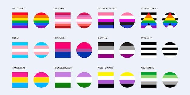 Colección de la bandera del orgullo en formas cuadradas y redondeadas