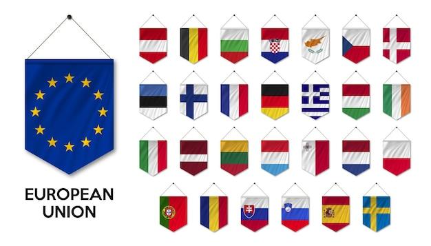 Colección bandera de la unión europea ue y país de membresía ondeando banderas banderines