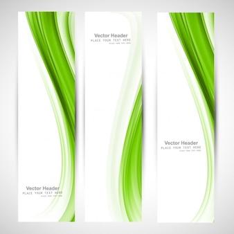 Colección de las banderas abstracto ondulado verde