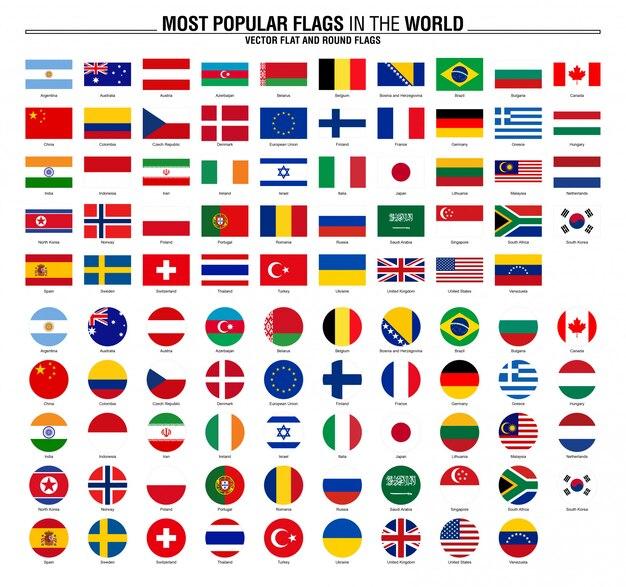 Paises y los banderas nombres de