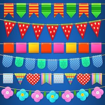 Colección de banderas coloridas de celebración de fiesta para decoración.
