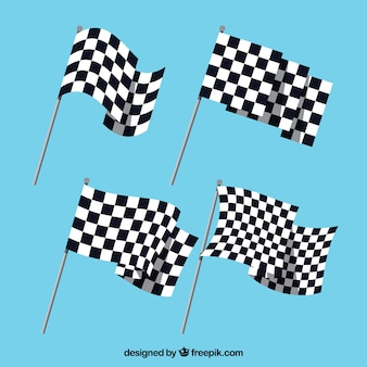 Colección de banderas a cuadros con diseño plano