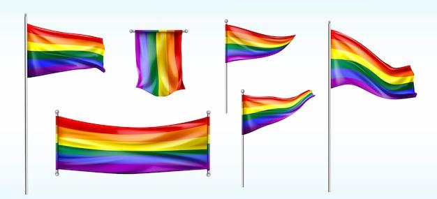 Colección de banderas del día del orgullo de dibujos animados