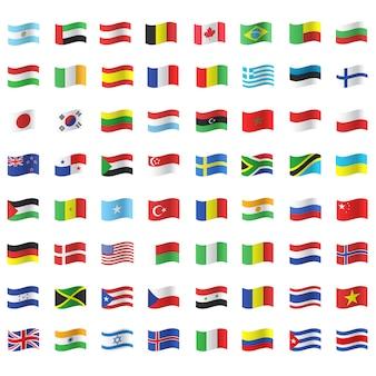 Colección de banderas ondeando