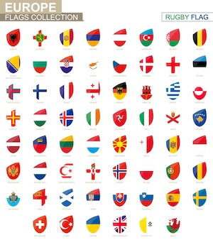 Colección de banderas de países europeos. conjunto de bandera de rugby. ilustración de vector.