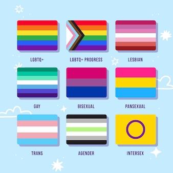 Colección de banderas planas del orgullo
