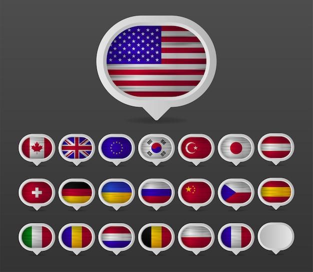 Colección de banderas realistas de banderas europeas en diseño de puntos de mapa. fabricado en europa. ilustración vectorial.