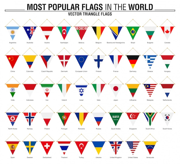 Colección de banderas triangulares, banderas del mundo más populares.