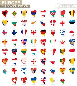 Colección de banderas vectoriales de países europeos. conjunto de iconos de corazón.