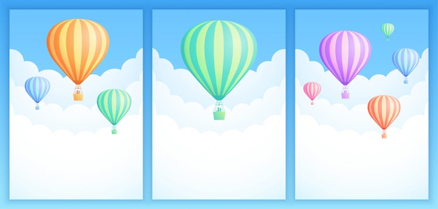 Colección de banner de aventurero de cielo de globo de aire caliente