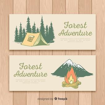 Colección banner camping dibujados a mano