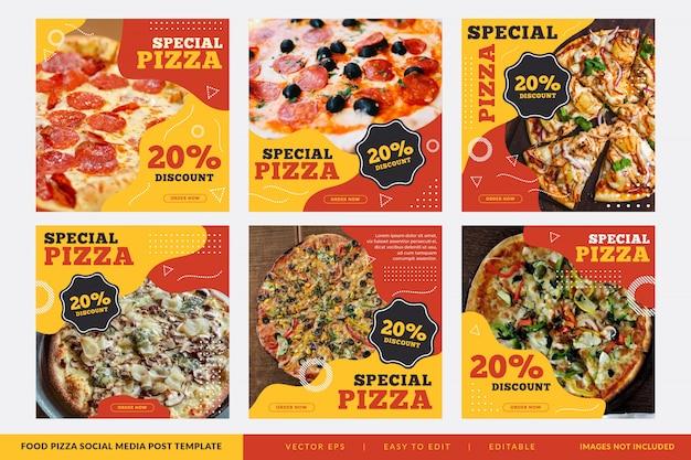 Colección de banner cuadrado de restaurante de pizza