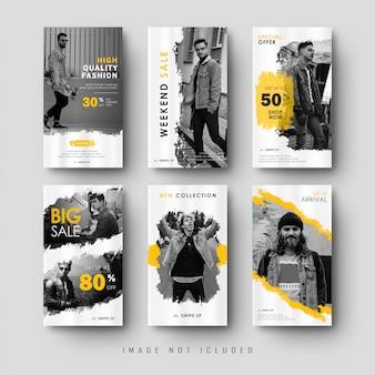 Colección de banner de historias de instagram de redes sociales amarillas con textura de salpicadura