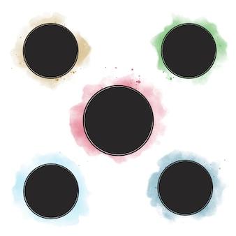 Colección de banner insignia acuarela colorida