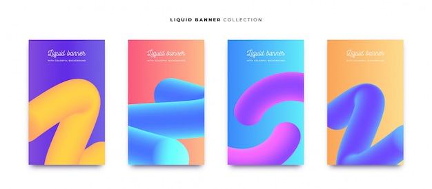 Colección de banner líquido colorido con fondos vibrantes