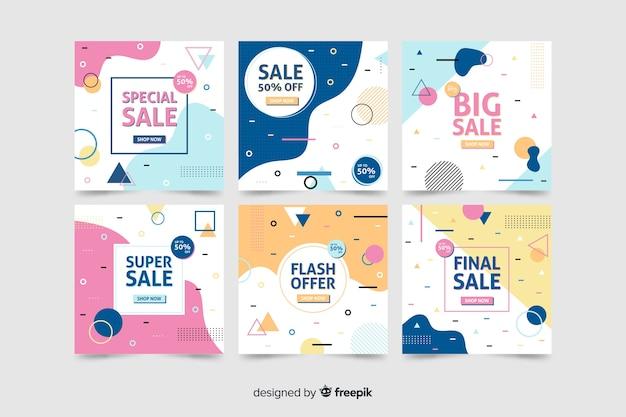 Colección de banner moderno de venta para redes sociales.