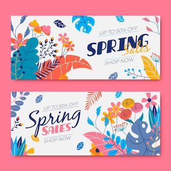 Colección de banner de rebajas primaverales en diseño plano