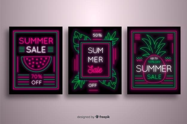 Colección banner rebajas de verano carteles de neón