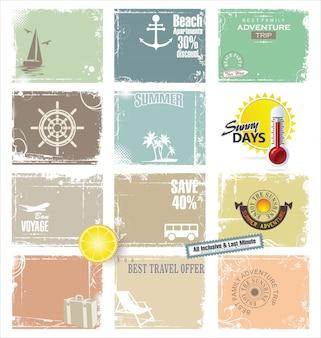Colección de banner retro de viaje
