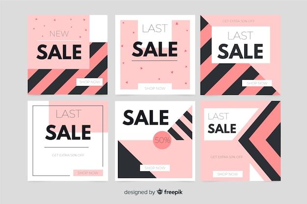 Colección de banner de venta abstracta para redes sociales.