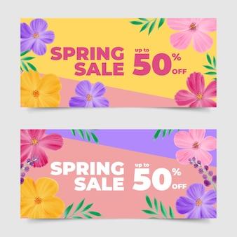 Colección de banner de venta de acuarela de primavera