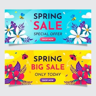 Colección de banner de venta de primavera de diseño plano