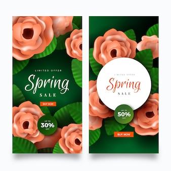 Colección de banner de venta de primavera realista