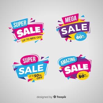 Colección de banner de ventas en estilo abstracto