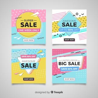 Colección de banner de ventas en estilo de estilo