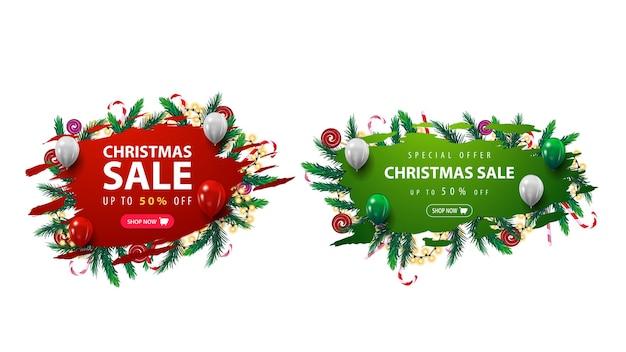 Colección de banner web de descuentos navideños con formas abstractas desiguales decoradas con ramas de árboles de navidad, dulces y guirnaldas. banners de descuento aislados