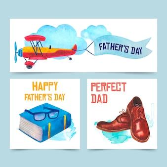 Colección de banners de acuarela del día del padre