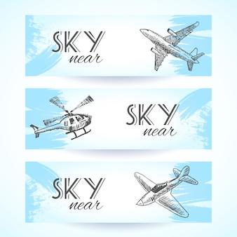 Colección de banners de aviones